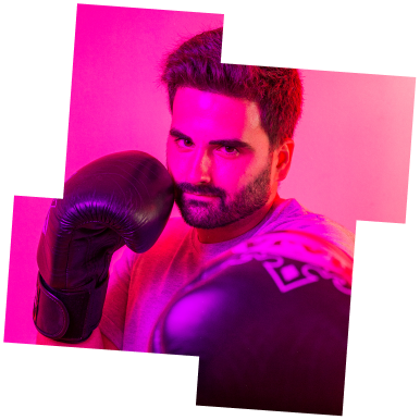 Photo of Bruno using muay thai gloves with Pink backlight