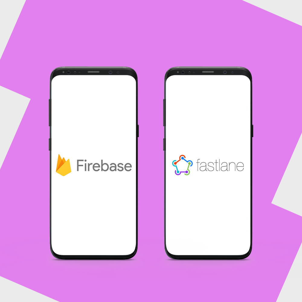 Firebase and fastlane logos in smartphones.